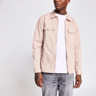 River Island Light pink zip front pocket overshirt