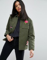 Asos Military Shirt With Floral Badges