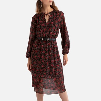 Le Temps Des Cerises Floral Print Midi Dress with Puff Sleeves