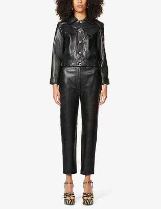 Patou Logo-embroidered faux-leather jacket