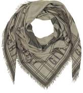 Givenchy Gray Woven Cotton, Wool and Silk Signature Wrap