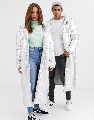 Another Influence unisex longline puffer in metallic