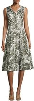 Lafayette 148 New York Emlia Sleeveless Grove Palm-Print Stretch-Cotton Dress, Multi