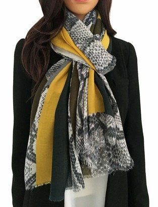 The Accessory Co. Large Snakeskin Scarf for Women Ladies Leopard Print Blocks Animal Shawl Wrap Lightweight Scarves Mustard Yellow Orange Red Teal