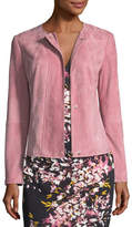 Escada Snap-Front Suede Jacket with Seam Details