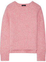 Rag & Bone Francie Suede-trimmed Ribbed Merino Wool-blend Sweater - Baby pink