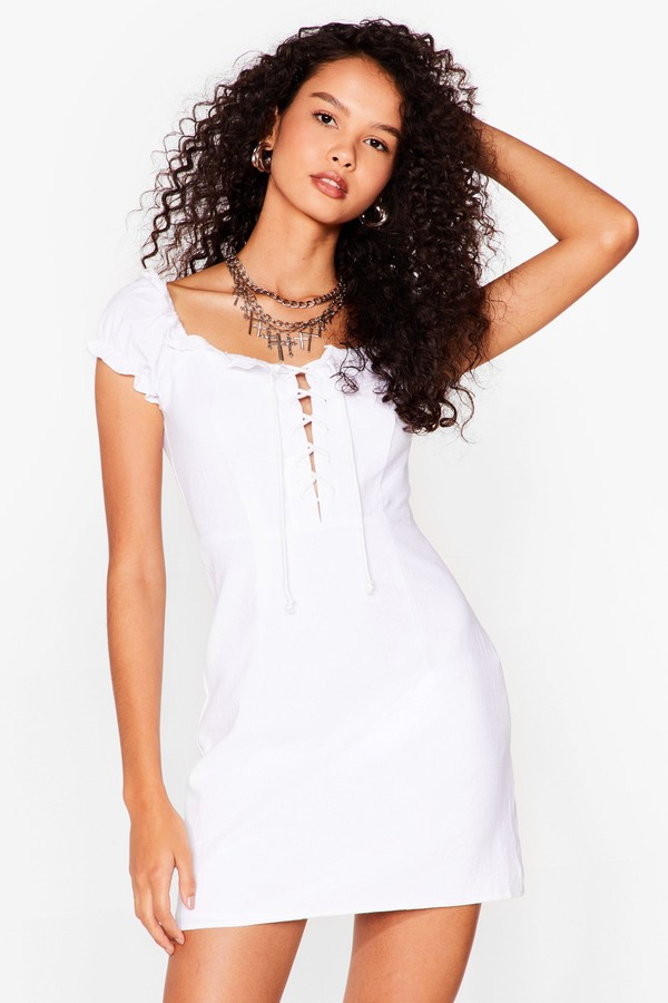 Thumbnail for your product : Nasty Gal Womens Lace Up A Line Mini Dress