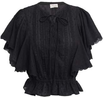 Temperley London Beaux Lace-trimmed Pintucked Cotton-plumetis Blouse