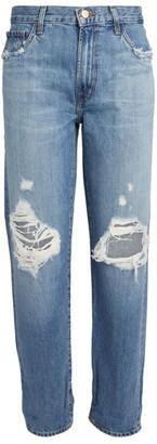 J Brand Distressed Tate Boyfriend Jeans