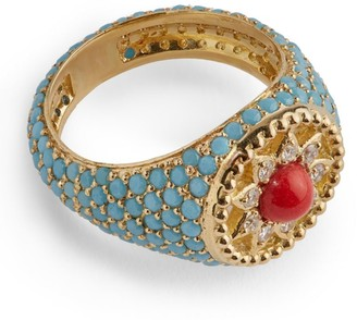 L'Atelier Nawbar Yellow Gold Stone Arabesque Cosmic Love Ring