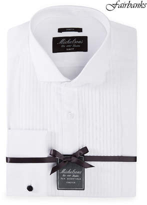 Michelsons of London Men Slim-Fit Stretch Solid French Cuff Tuxedo Shirt