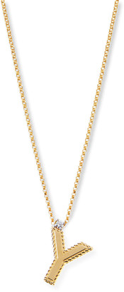 Roberto Coin Princess 18K Yellow Gold Diamond Initial Necklace, Y