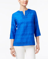 Alfred Dunner Corsica Lace-Trim Embroidered Tunic