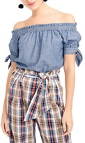 J.Crew J. Crew Chambray Off the Shoulder Top