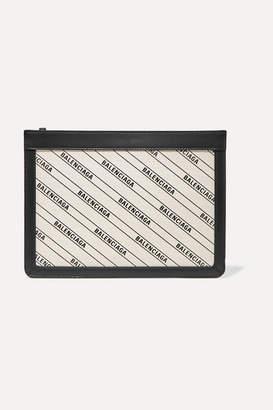 Balenciaga Leather-trimmed Printed Canvas Shoulder Bag - Ivory