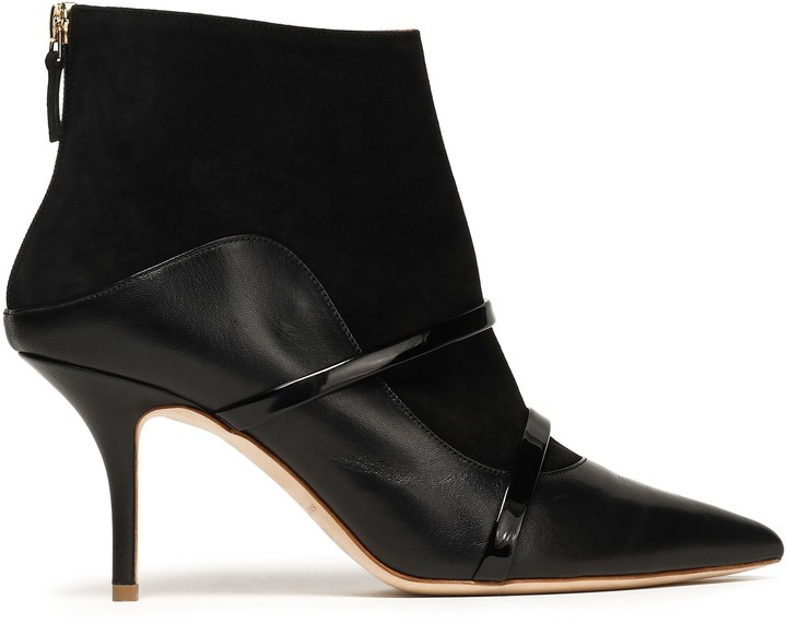 Malone Souliers Patent-trimmed Leather And Suede-paneled Ankle Boots