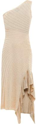 Just Cavalli Ruffle-trimmed Ribbed-knit Dress