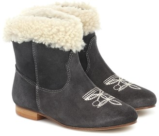 Bonpoint Phenix shearling-trimmed suede ankle boots