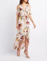 Charlotte Russe Floral Surplice Cold Shoulder Maxi Dress