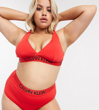Calvin Klein Plus high apex triangle bikini top in red