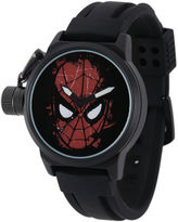 Marvel Spider-Man Mens Black Silicone Strap Crown Protector Watch