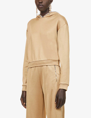 Area Crystal-embellished cotton-jersey hoody