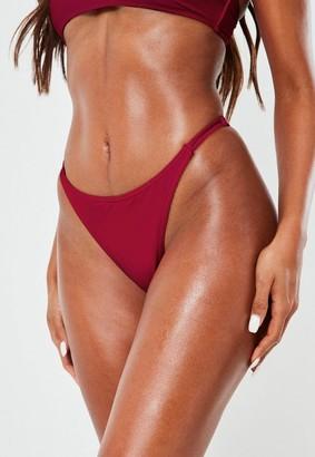 Missguided Dark Purple Minimal High Leg Thong Bikini Bottoms