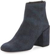 Stuart Weitzman Bacari Denim Chunky-Heel Bootie, Navy Antique Denim