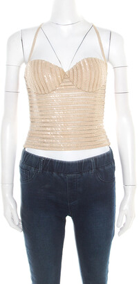 Giorgio Armani Beige Sequin Embellished Bustier Top XS