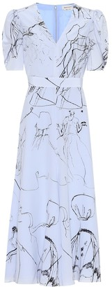 Alexander McQueen Printed silk midi dress