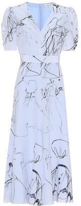 Alexander McQueen Printed silk midi dress