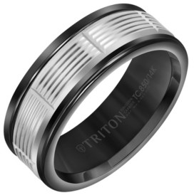 Triton 8MM Black Tungsten Carbide Ring with 14K White Gold Serrated Vertical Cut Insert