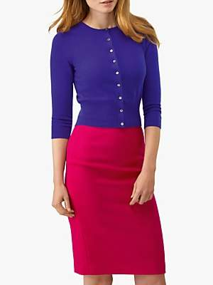Pure Collection Cashmere Cropped Cardigan, Winter Violet
