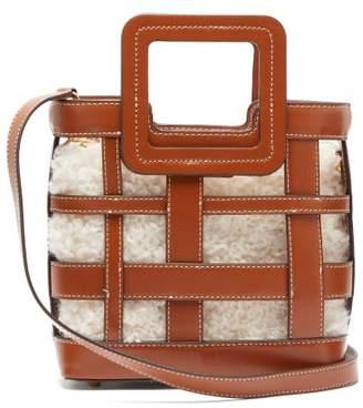 STAUD Shirley Mini Leather And Shearling Bag - Womens - Tan Multi