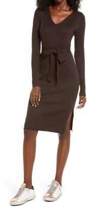 Vero Moda Barbara Tie Waist Long Sleeve Midi Dress