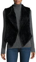 Neiman Marcus Faux-Fur Cascade Vest, Black