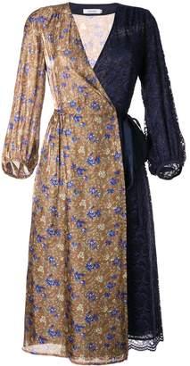Loveless mixed-print wrap dress