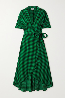 Ganni Gingham Crepe Midi Wrap Dress - Green