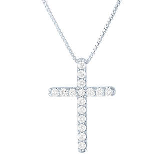 Silver Cross Fine Jewelry Womens 1/2 CT. T.W. Lab Grown Diamond Sterling Pendant Necklace