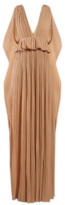 Chloé Cape-panel Plisse-chiffon Gown - Light Brown