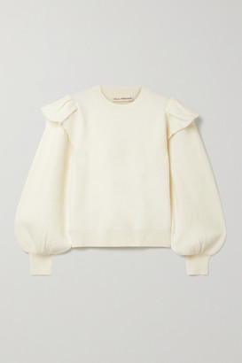 Ulla Johnson Lorena Ruffled Merino Wool Sweater - Cream