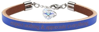 Genuine Leather Bracelet Made with Crystals From Swarovski by Pink Box Expect Nothing Blue