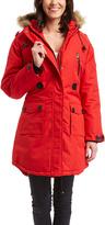 Fahrenheit Red Faux Fur Hooded Parka