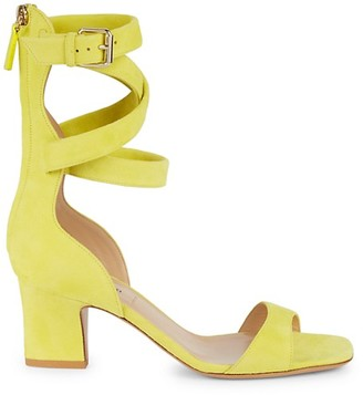 Valentino Strappy Block-Heel Leather Sandals