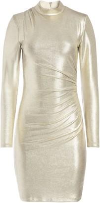 Alice + Olivia Hilary Ruched Metallic Mini Dress