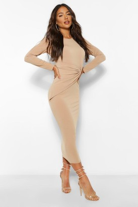 boohoo Twist Detail Bodycon Midaxi Dress