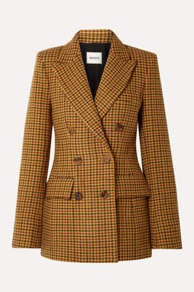 KHAITE Darla Checked Wool Blazer - Yellow