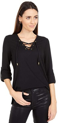 MICHAEL Michael Kors Waffle Lace-Up Tunic (Black) Women's Clothing