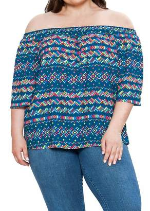 Flying Tomato Off-the-Shoulder Printed Blouse (Plus Size)
