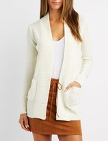 Charlotte Russe Ribbed Open-Front Cardigan
